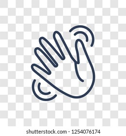 Waving hand icon. Trendy linear Waving hand logo concept on transparent background from Hands collection