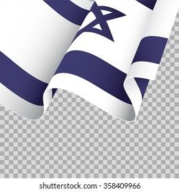 Waving Israel flag on transparent background - vector illustration