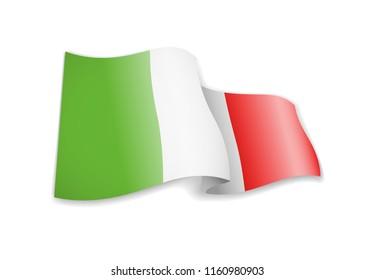 Waving Italy flag on white background. Vector illustration
