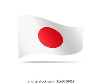 Waving Japan flag on white. Flag in the wind.