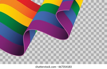 Waving LGBT flag on transparent background vector illustration