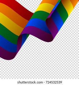 Waving LGBT flag on transparent background. Rainbow flag. Vector illustration