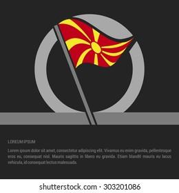 Waving Macedonia Flag badge design - independence day Label - Vector illustration