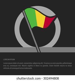 Waving Mali Flag badge design - independence day Label - Vector illustration