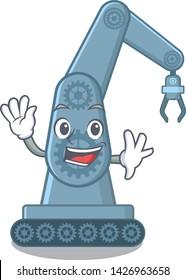 Waving mechatronic robotic arm in mascot shape