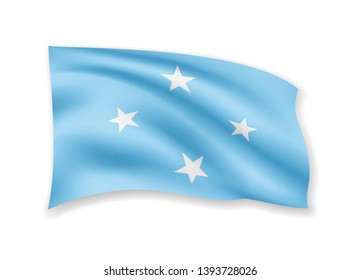 Waving Micronesia flag on white. Flag in the wind vector illustration.
