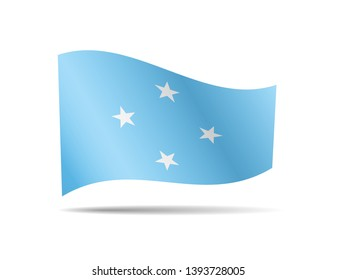 Waving Micronesia flag in the wind. Flag on white background vector illustration