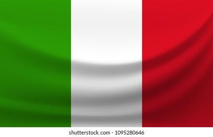 Waving national flag of Italy. Vector illustration