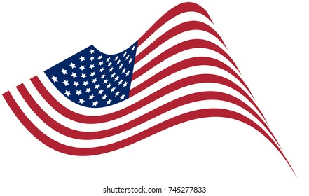 Waving national flag of United States of America isolated on white background. Official colors and proportion of flag of USA.Vector illustration