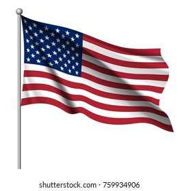 Waving national flag of United States of America isolated on white background. Official colors and proportion of flag of USA. Vector illustration. The color and size of the original.