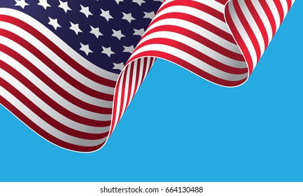 Waving on the wind American flag. Vector illustration. Fourth of the July holiday. Independence day.