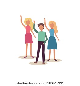 Waving people vector illustration - young group greeting or saying goodbye isolated on white background - flat male and female characters standing with welcoming gesture.