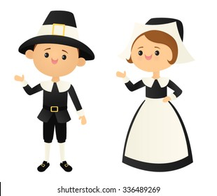 Waving pilgrim couple