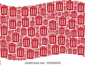 Waving red flag collage. Vector trash bin items are combined into mosaic red waving flag collage. Patriotic collage designed of flat trash bin elements.