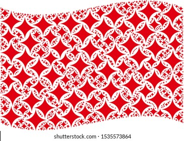 Waving red flag collage. Vector sparkle star elements are formed into mosaic red waving flag collage. Patriotic illustration combined of flat sparkle star elements.