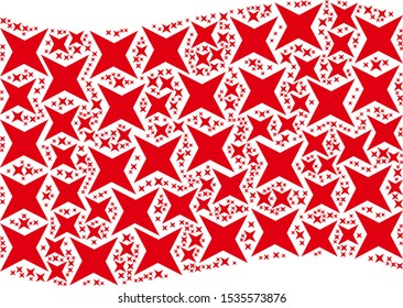 Waving red flag collage. Vector sparkle star icons are scattered into conceptual red waving flag abstraction. Patriotic collage constructed of flat sparkle star icons.