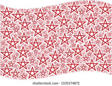 Waving red flag collage. Vector star pentagram design elements are placed into geometric red waving flag illustration. Patriotic collage organized of flat star pentagram design elements.