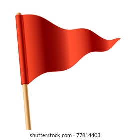 Waving red triangular flag. Vector.