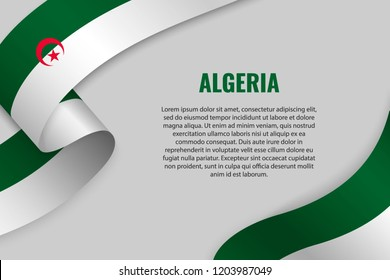 Waving ribbon or banner with flag of Algeria. Template for poster design