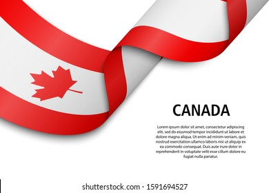 Waving ribbon or banner with flag of Canada. Template for independence day poster design