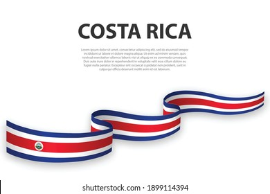 Waving ribbon or banner with flag of Costa Rica. Template for independence day poster design