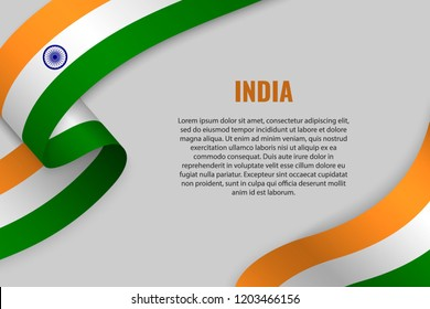 Waving ribbon or banner with flag of India. Template for poster design