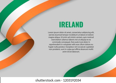 Waving ribbon or banner with flag of Ireland. Template for poster design