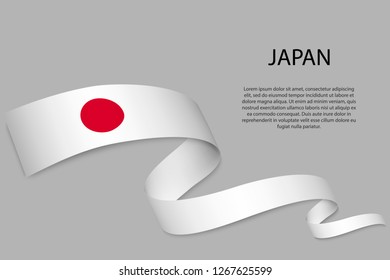 Waving ribbon or banner with flag of Japan. Template for independence day poster design