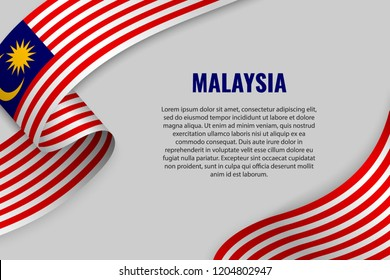 Waving ribbon or banner with flag of Malaysia. Template for poster design