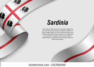 Waving ribbon or banner with flag of Sardinia. Region of Italy. Template for poster design