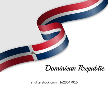 waving ribbon flag of Dominican Republic. Template for independence day banner