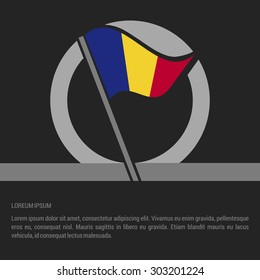 Waving Romania Flag badge design - independence day Label - Vector illustration