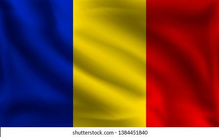 Waving Romanians flag, the flag of Romania, vector illustration