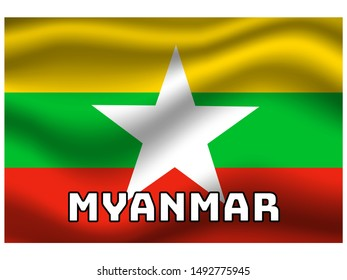 Waving with shadow and name of country National flag of Republic of the Union of Myanmar. original colors and proportion. Simply vector illustration eps10, from countries flag set.