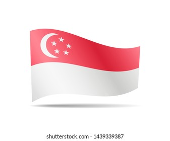 Waving Singapore flag in the wind. Flag on white background vector illustration