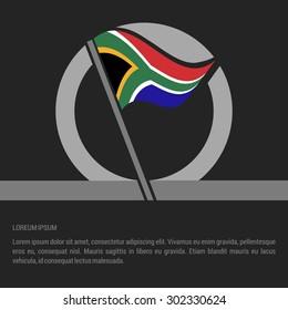 Waving South Africa Flag badge design - independence day Label - Vector illustration