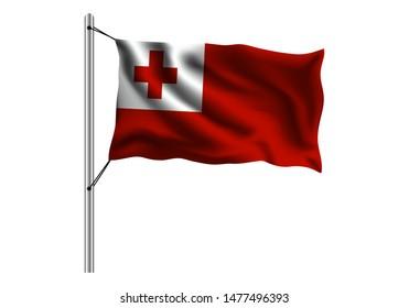 Waving Tonga flag on flagpole on isolated background, flag of Tonga, vector illustration
