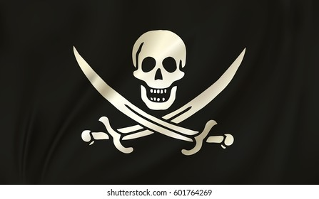 Waving The traditional Jolly Roger of piracy Flag