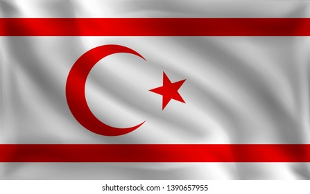 Waving The Turkish Republic of Northern Cyprus flag, the flag of The Turkish Republic of Northern Cyprus, vector illustration