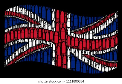 Waving UK flag on a black background. Vector ammo bullet elements are arranged into conceptual British flag composition. Patriotic composition designed of ammo bullet elements.