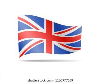 Waving United Kingdom Flag on white. Flag in the Wind. Vector illustration.
