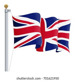 Waving United Kingdom Flag. UK Flag Isolated On A White Background. Vector Illustration. Official Colors And Proportion. Independence Day