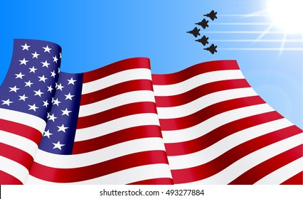 Waving USA flag with with F22 fighters unit on azure sky background. Can be used for logos, business identity, print products, page and web decor, signs, placards, backgrounds or other design.
