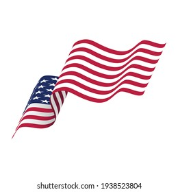 Waving USA flag isolated on white background. American flag vector icon.