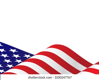 Waving USA Flag Vector Illustration for 4th of July, Independence Day or President Day