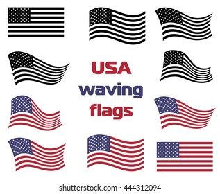 Waving USA national flag set vector