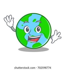 Waving world globe character cartoon