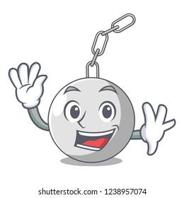 Waving wrecking ball hanging from chain cartoon