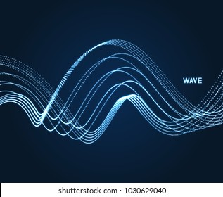 Wavy background. Array with dynamic particles. Composition with motion effect. 3d technology style. Vector illustration.