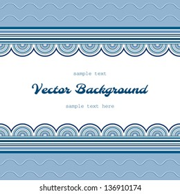 Wavy background with repeating borders over seamless wave pattern, vector illustration